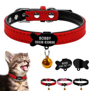 Personalised-Cat-Collar-amp-Tag-Padded-Pet-Puppy-Kitten-Fish-Bone-Collar-Tag-XXS-S