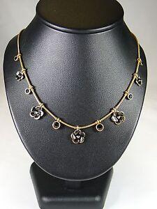 Details zu PILGRIM Halskette Kette Halsreifen,Modeschmuck, Blüte, Herz, Schwarz, Stein,Gold