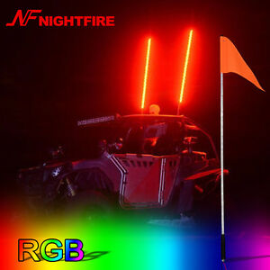 5FT Multi Color 1.5M RGB Quick Release LED Flag Pole Whip Lights For UTV ATV RZR