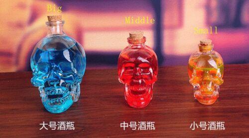 3 Szie Glass Crystal Skull Bottle Crystal Skull Whiskey Vodka Wine gGlass Bottle