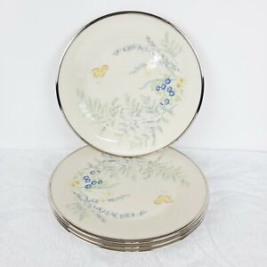 Lenox-Cinderella-Lot-Butterfly-Flowers-4-Dinner-Plates-Platinum-Trim