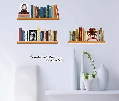 Elegant study shelf Home Bedroom Decor Removable Wall Stickers Decal Decoration