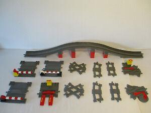HK-LEGO-DUPLO-Eisenbahn-Schienen-Gleise-Weichen-Bahnuebergang-Bruecke-AUSWAHL