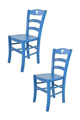 TOMMYCHAIRS Set 2 sedie Cuore 38 struttura e seduta in legno colore blu | eBay
