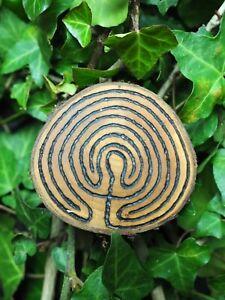 Wild Cherry Wood Labyrinth Altar Piece - Witchcraft, Wicca, Pagan, Meditation