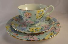 Vintage Shelley Melody Gilded Trio Tea Coffee Cup Saucer & Side Cake Plate Lot E