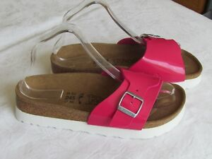NEW-Birkis-Catalina-Ladies-Pink-Patent-Platform-Mules-Sandals-UK-Size-5-EU-38