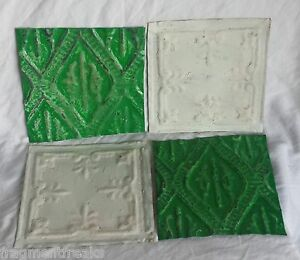 "4 6"" x 6"" Antique Tin Ceiling Tiles *SEE OUR SALVAGE VIDEOS*Green & White Ap21"