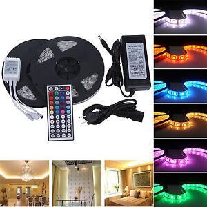 10M-2x5m-5050-RGB-led-wasserdicht-Streifenlicht-Leiste-Controller-8A-Netztei