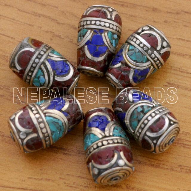 UB2155 Nepalese Handmade Turquoise Coral Lapis 6 Beads from Nepal by Eksha Limbu