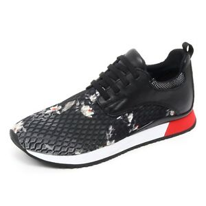 B6594 sneaker donna CRIME LONDON scarpa bianco/nero fiori shoe woman [40] O4MUoyI3