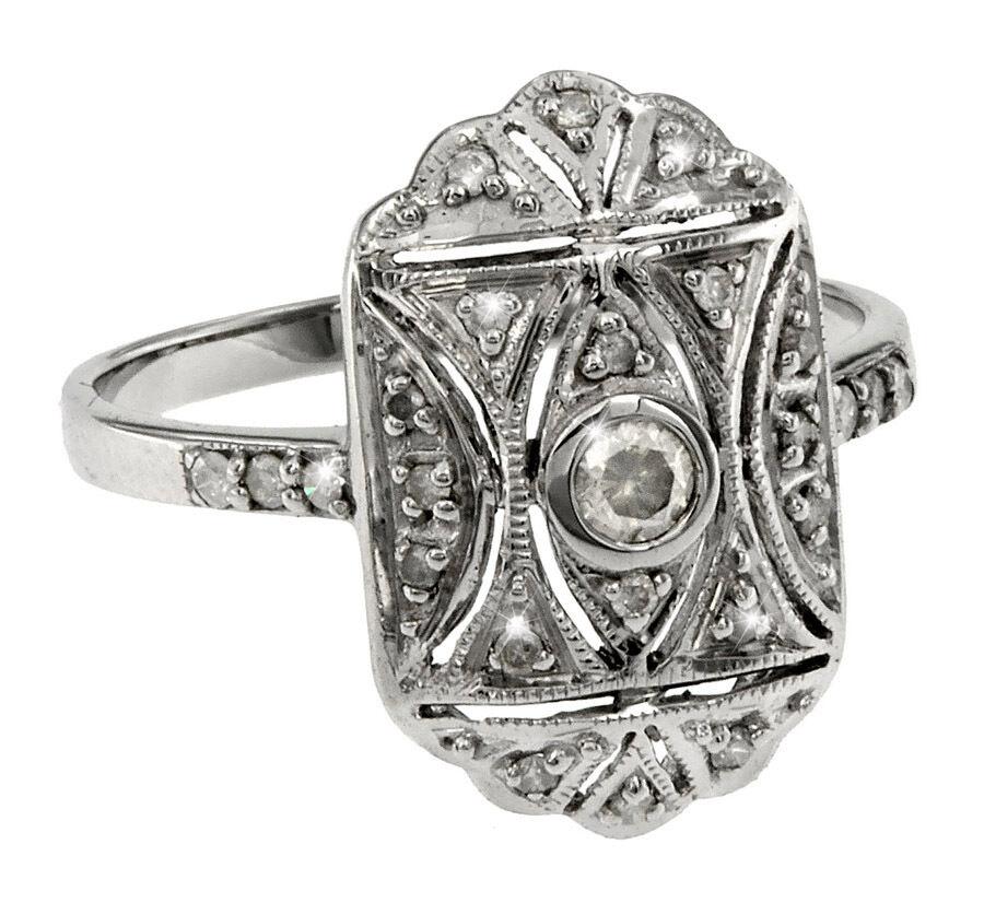 Filigraner Art Deco Ring Brillanten silver