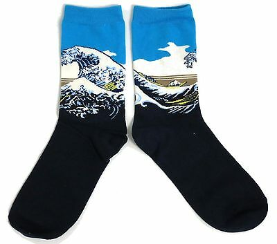 Hot Sox Collection Great Wave Trouser Sock Art by Hokusai Shoe Size 4-10.5
