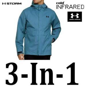 MEN'S UNDER ARMOUR STORM 3-IN-1 JACKET STORM REPELS WATER COAT BLUE 1342742 M