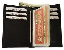 Slim Front Pocket Leather Credit Card Holder & Plastic Insert Bifold Wallet Safe