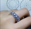 2Ct-Round Cut Moissanite Half Eternity Wedding Ring Solid 14K White Gold Finish