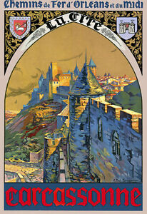 TT17-Vintage-Carcassonne-French-France-Travel-Poster-Print-A3-17-034-x12-034-Re-print