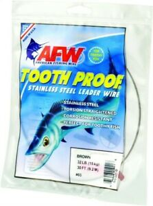 AFW TOOTH PROOF STAINLESS STEEL LEADER-Single Strand Wire-195LB Test 30FT BRIGHT