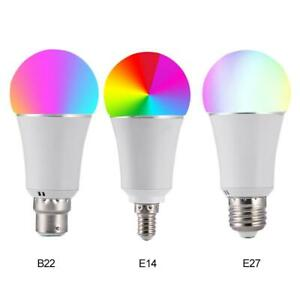 7W Wireless WiFi Smart LED Bulb RGB+W Lamp Support Alexa Google Home E27 B22 E14