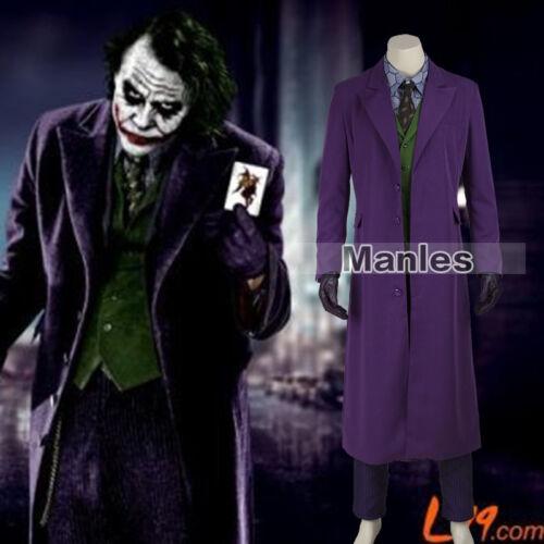 In Stock Batman Cosplay Costume Heath Ledger Joker The Dark Knight Rise Outfits