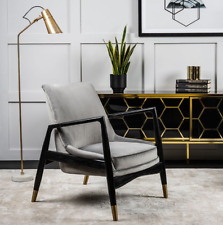 Vintage Danish Armchair Modern Lounge Sofa Chair Mid Century Velvet Fabric Seat
