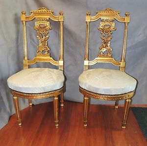 Pair Of Gilt Wood Designer Side Accent Chairs Antique