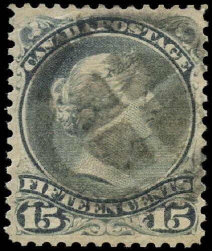 Canada #30 used VF 1868 Queen Victoria 15c grey Large Queen Fancy Cork cancel