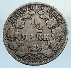 1905-WILHELM-II-of-GERMANY-with-Eagle-Genuine-German-Silver-1-2-Mark-Coin-i74366