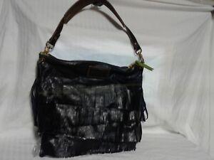 Image is loading womens-Dark-Navy-Blue-Leather-fringe-Boho-Bag- dc01a3f59fe48