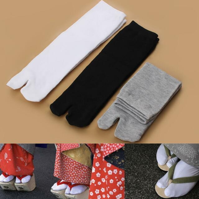 3PAIRS Unisex Cotton Japanese Kimono Flip Flop Sandal Split Toe Tabi Ninja Socks
