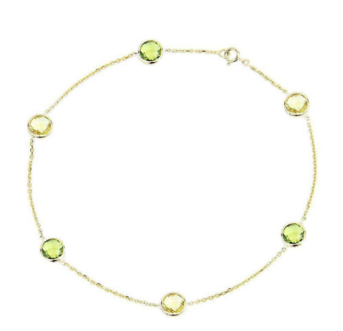 14K Yellow Gold Anklet With Peridot And Lemon Topaz Gemstones 9 Inches