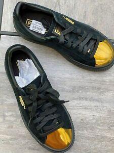 Puma-Suede-Platform-Black-Gold-Women-039-s-Shoes-Sz7-5-38