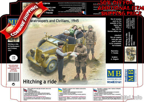 """Master Box 35161 /""""Hitching a Ride/"""" US Paratroopers and Civilians w//Car kit 1//35"""