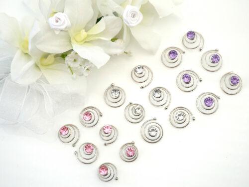 6 x Hair Coil Hair Spring Pins Slides silver tone with daimante Bridal Prom