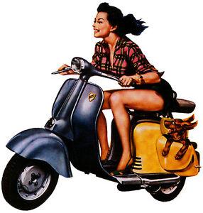 speeding scooter girl tshirt gents ladies amp kids sizes