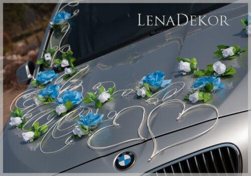 Noeuds Aida Bleu Mariage Blanc Décoration Voiture Promo Limousine Ruban
