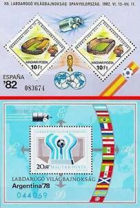 HUNGARY= WORLD FOOTBALL CUP x2 S/s MNH SOCCER, ARGENTINA'78 + ESPANA'82