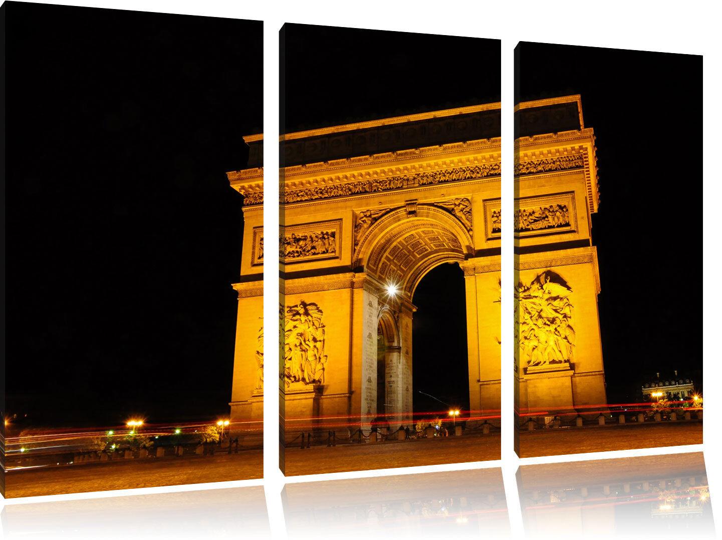 Arco Trionfo di Notte 3-Teiler Quadro su Tel Decorazione Parete Stampa Artistica