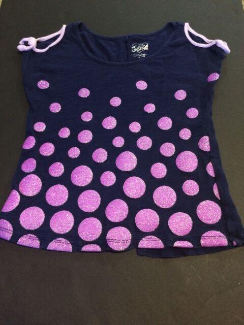 Justice For Girls Shirt Size 8 Navy Blue Purple Glitter Polka Dots Euc Ships $0
