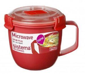 Sistema-565ml-Small-Soup-Mug-Microwave-Broth-Curry-Food-Pot-Plastic-Klip-It-Lid