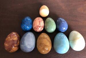 Lot-of-10-Vintage-Polished-Natural-Stone-Eggs-Granite-Marble-Alabaster