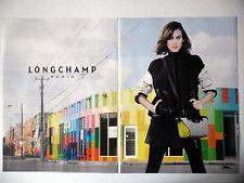PUBLICITE-ADVERTISING :  LONGCHAMP (02) [2pages] 2015 Sac Gris Jaune,Mode