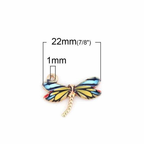 5 Or 10PCs Blue Dragonfly 22mm Wholesale Gold Plated Enamel Charms C1918-2