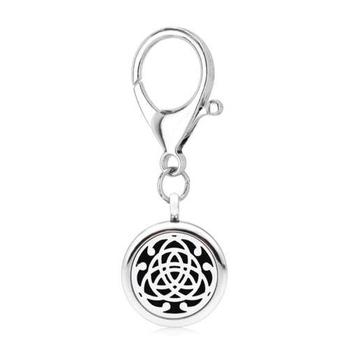 Médaillon Huile Essentiel Aroma Parfum Diffuseur Pendentif avec Keychain Porte-clefs 25 mm