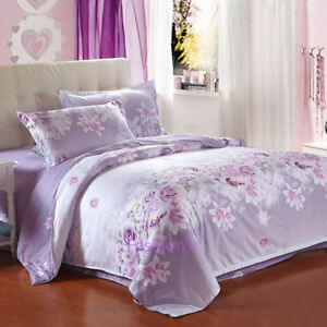 Floral Single/Double/Queen/King Quilt/Doona/Duvet Cover Set 100% Cotton Purple