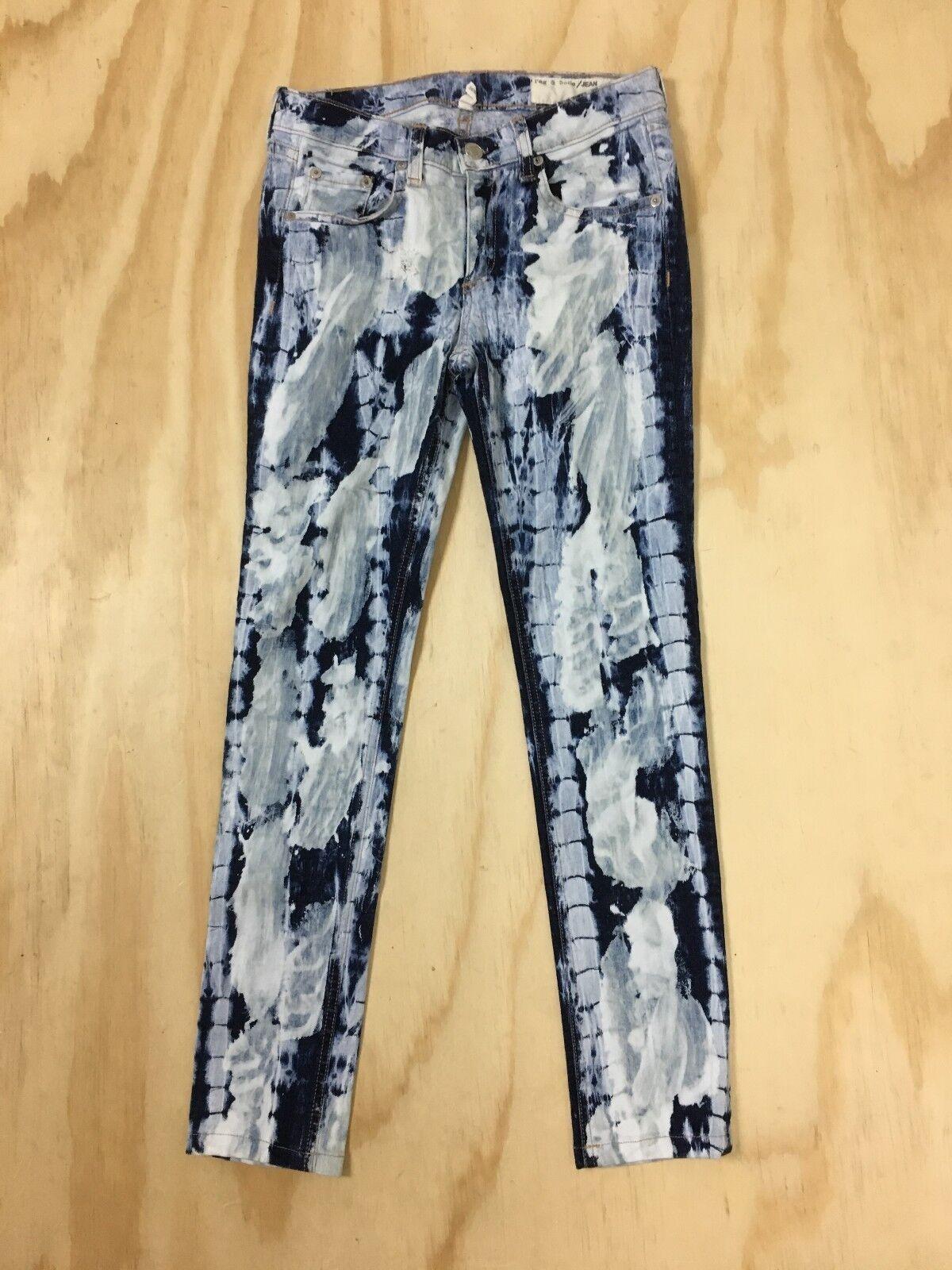 Rag & bone Skinny Splatter Stretch Denim Jeans Women's 26 x 27 bluee and White