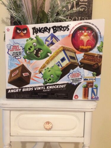 Angry Bird Vinyl Knockout Playset Game Ages Four Exclusive Red Fast Shipping