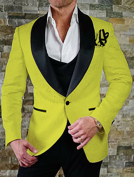 Mens Yellow Jacquard Paisley Shawl Lapel Tuxedos Groom Wedding Prom Suit Cutsom