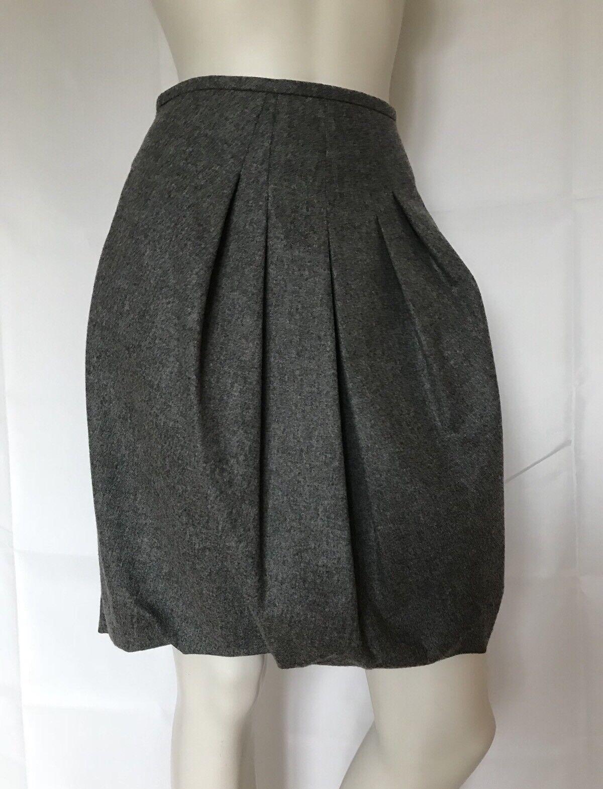 NWT Brunello Cucinelli GUNEX Lana Wool Pleated Buble Skirt Sz 40 US 4