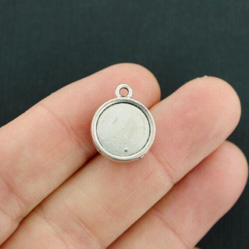 5 Druzy Charms Sparkle Resin Cabochon Antique Silver Tone Smoky Silver Z728